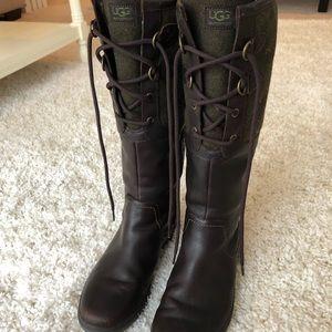 Dark brown UGG boots. Size 8.